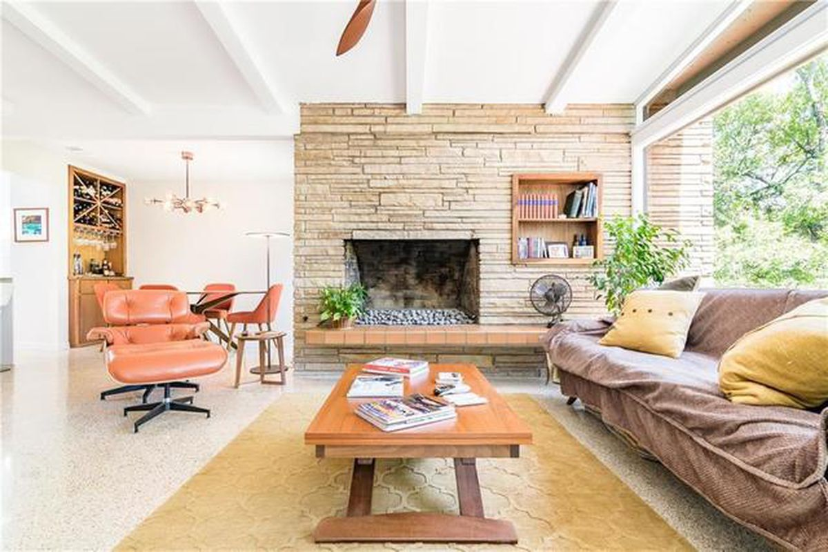 Living room of remodeled midcentury house