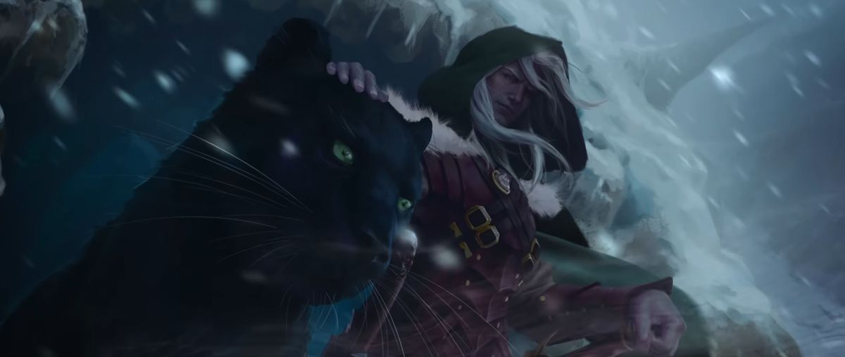 Drizzt stands in a snowstorm next to his pet.