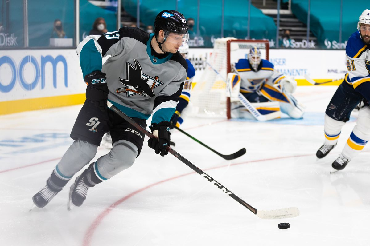 San Jose Sharks forward John Leonard (43) controls the puck during the NHL hockey game between the St. Louis Blues and San Jose Sharks on March 19, 2021 at the SAP center in San Jose, CA.