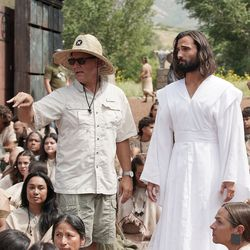 Director Blair Treu talks with actor Anthony Butters, who plays Jesus, as The Church of Jesus Christ of Latter-day Saints' production of the fourth season of Book of Mormon videos is filmed near Springville on Monday, July 26, 2021.