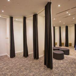 The sleek dressing room set up.