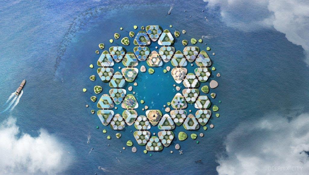 Aerial rendering of islands