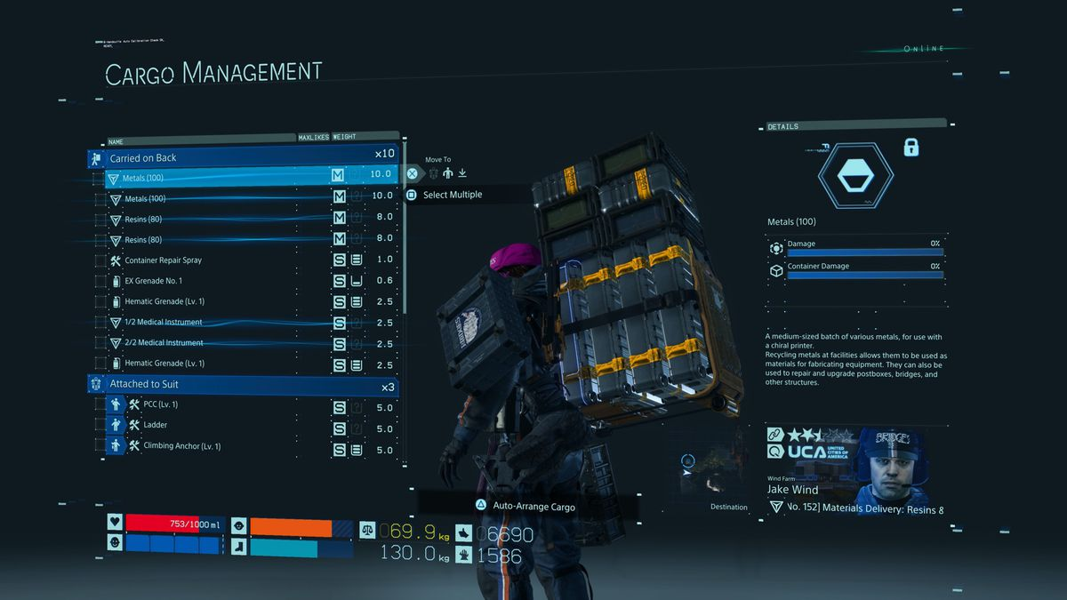 Death Stranding backpack cargo management