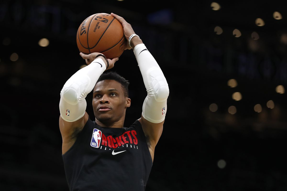 Houston Rockets guard Russell Westbrook shoots prior to the game against the Boston Celtics at TD Garden.