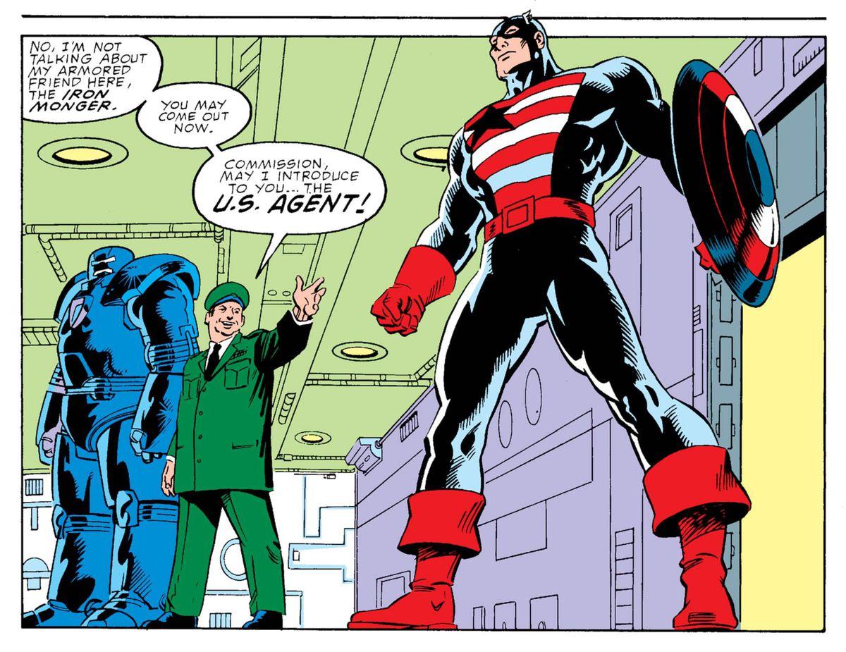 John Walker's first appearance as U.S. Agent in Captain America #354, Marvel Comics (1989).