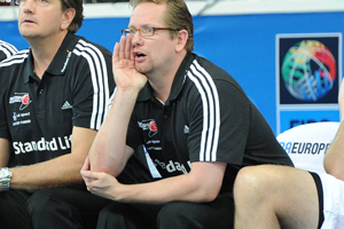 Nick Nurse, coaching the Great Britain National Team alongside Houston Rockets' assistant Chris Finch. Finch will replace Finch on the RGV Vipers' sideline next season.