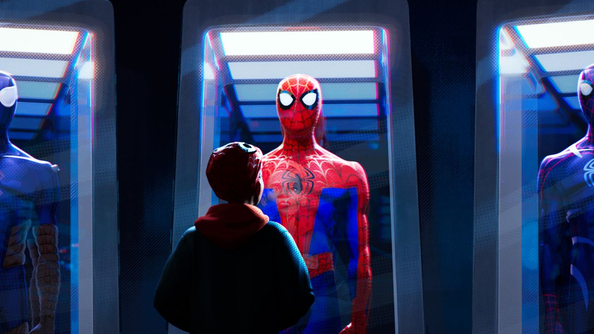 Miles Mes Shameik Moore Looks At Spider Man Costumes In Gl Display Cases