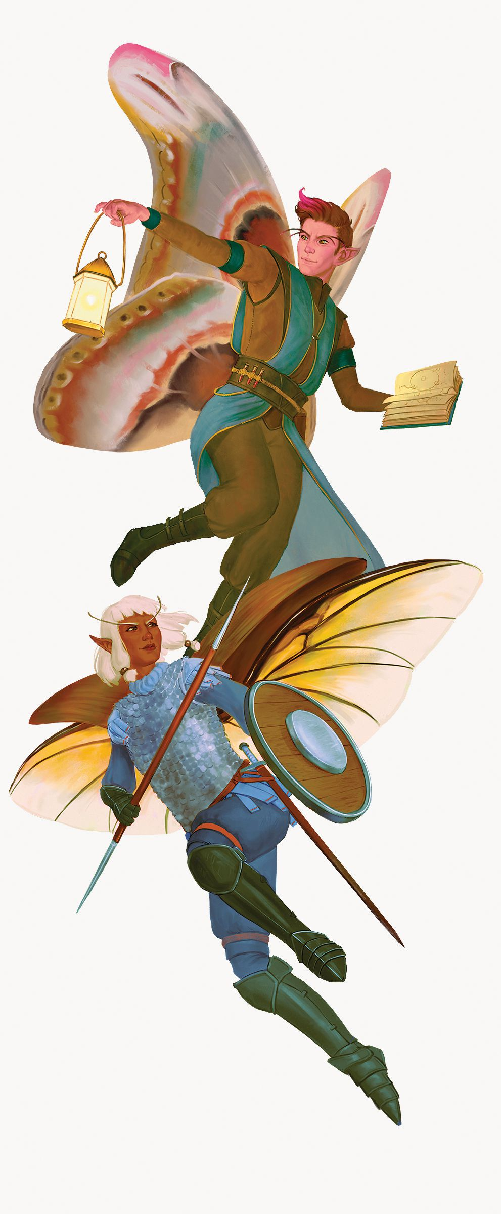Fantasy illustration of two characters with wings, one carrying a lantern and book; the other a spear and shield