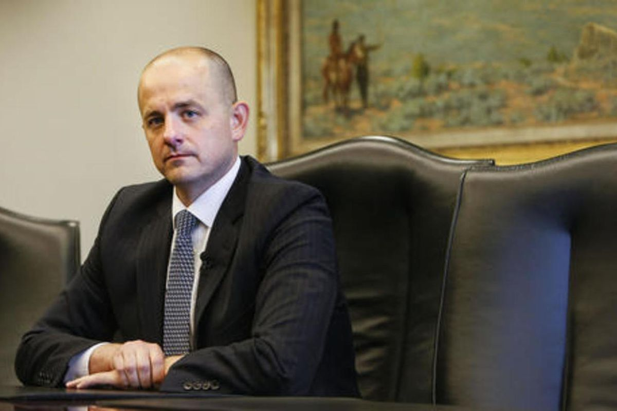 Evan McMullin, who's running an independent bid for president, talks with the Deseret News and KSL editorial boards in Salt Lake City on Wednesday, Aug. 10, 2016.