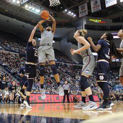 Notre Dame's Jessica Shepard (23) blocks the shot over UConn's Azura Stevens (23) during the Notre Dame Fighting Irish vs UConn Huskies women's college basketball game in the Women's Jimmy V Classic at the XL Center in Hartford, CT on December 3, 2017.