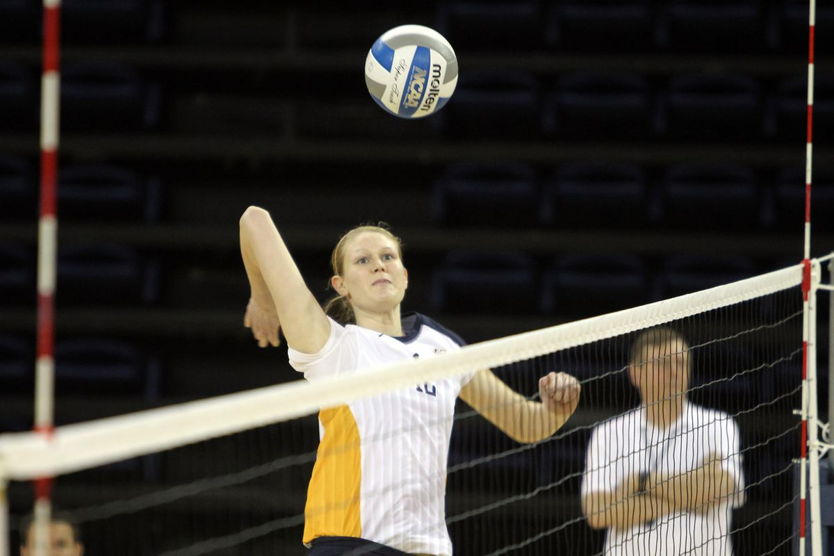 When Jackie Kocken explodes off the bench for 8 kills and 2 solo blocks, SHE GETS THE PICTURE.  Also: Elbows are weird.