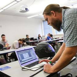 Daniel Poole teaches a sociology course at the Salt Lake Community College South City Campus in Salt Lake City on Thursday, Sept. 14, 2017.