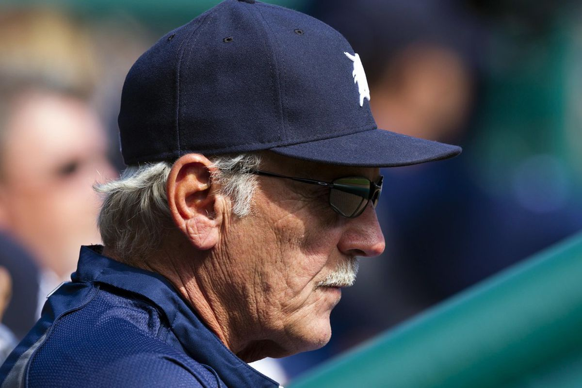 Detroit Tigers manager Jim Leyland  watches from the dugout during the first inning against the Chicago White Sox at Comerica Park.