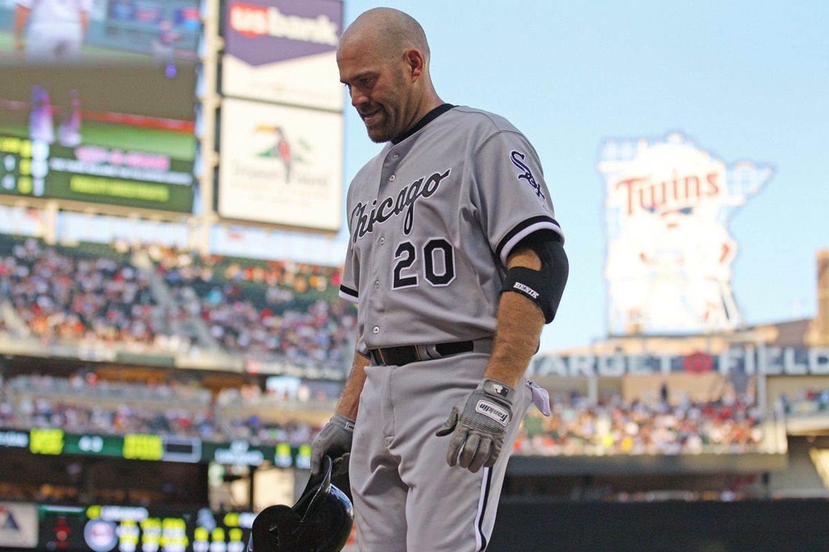 June 25, 2012; Minneapolis, MN, USA: Kevin Youkilis changed his Sox! HAHA! Get it?! Like, socks? Boston Red Sox, Chicago White Sox...?