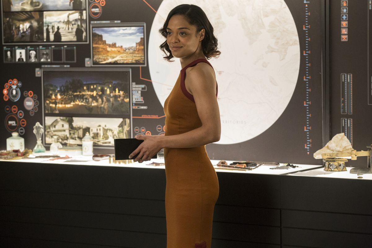 Tessa Thompson as Charlotte Hale in Westworld.