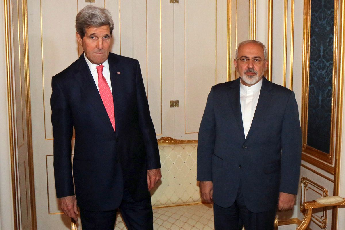 Secretary of State John Kerry and Iranian Foreign Minister Javad Zarif after a rough day of nuclear negotiations