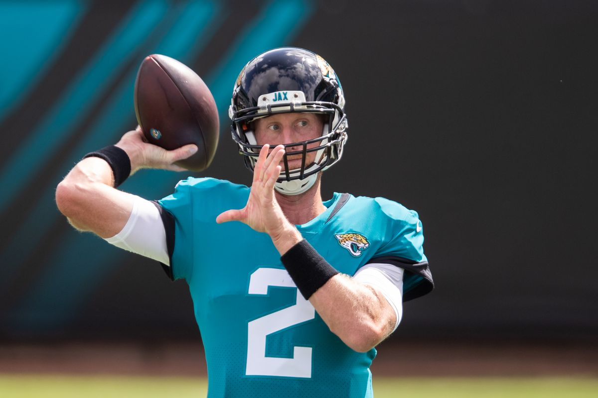 Mike Glennon #2 of the Jacksonville Jaguars warms up before the start of a game against the Detroit Lions at TIAA Bank Field on October 18, 2020 in Jacksonville, Florida.