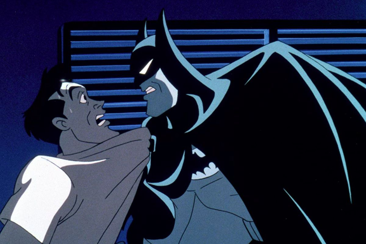 Batman interrogates corrupt city official Arthur Reeves