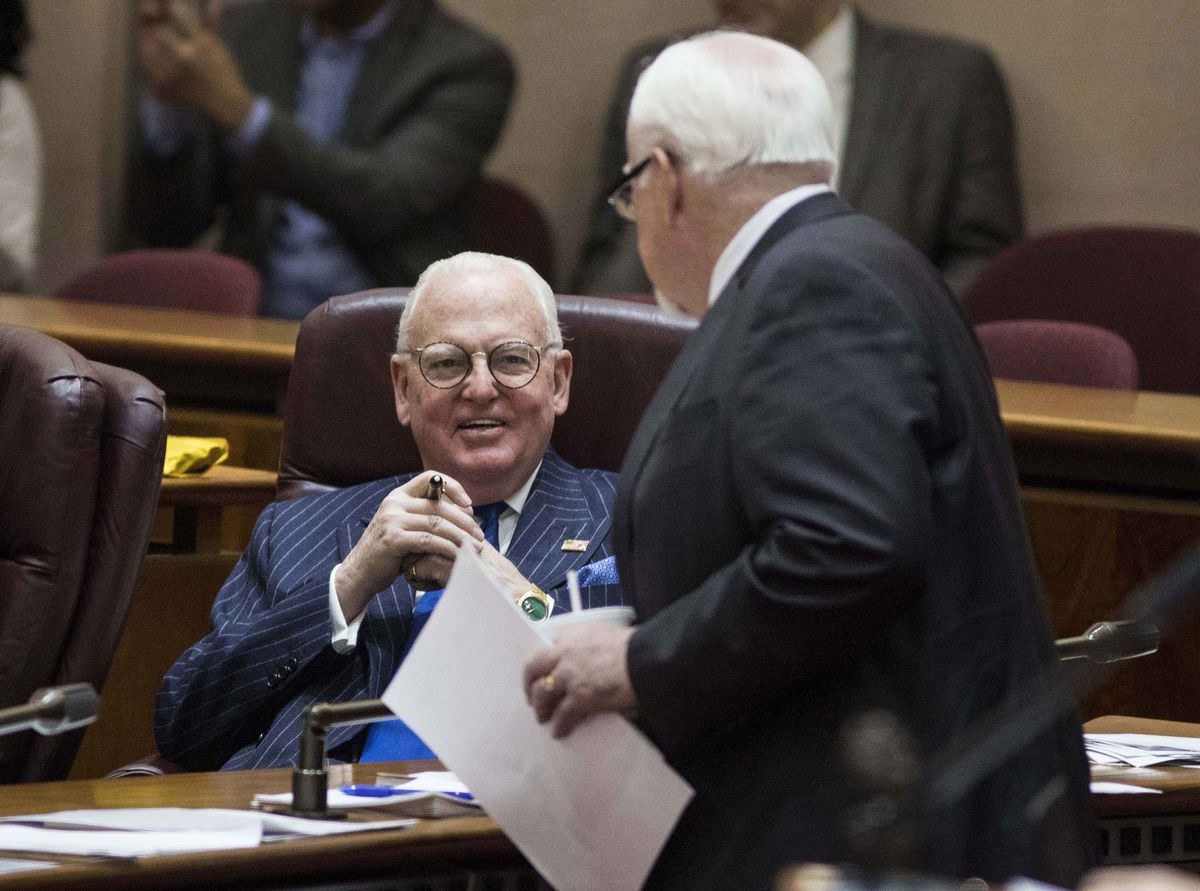 Ald. Pat O'Connor (40th), Mayor Rahm Emanuel's floor leader, chats with a seated Ald. Ed Burke (14th) during a Chicago City Council meeting earlier this year.   Ashlee Rezin/Sun-Times