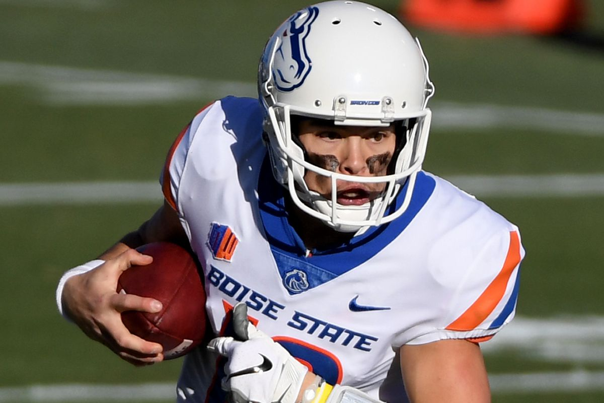 Quarterback Hank Bachmeier of the Boise State Broncos runs against the San Jose State Spartans in the first half of the Mountain West Football Championship at Sam Boyd Stadium on December 19, 2020 in Las Vegas, Nevada. The Spartans defeated the Broncos 34-20.
