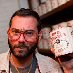 Porsena's Sebastian Jaramillo contemplates stealing one of Michael White's Eater Awards.