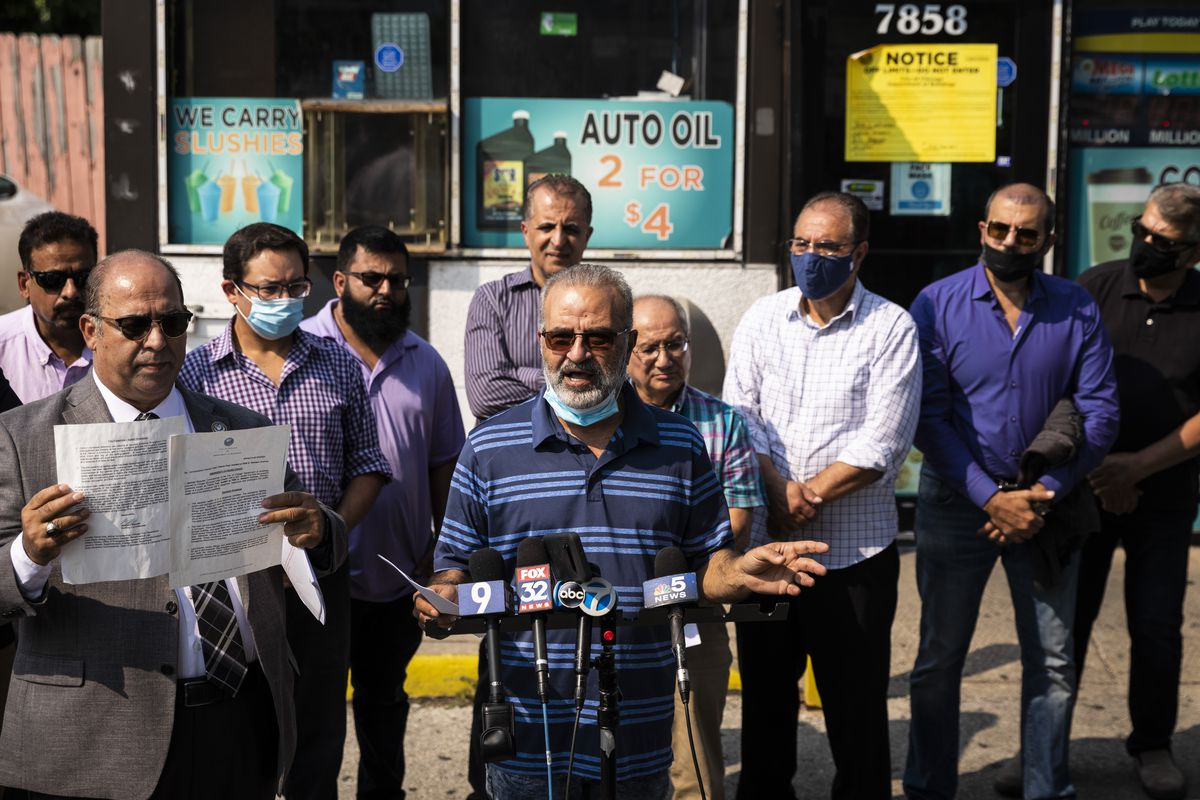 Aysar Abushanab, manager of the Falcon Fuel gas station at 7850 S. Western Ave., speaks during a news conference, accusing the city of racial targeting and closing stores over building code citations, Monday, Sept. 13, 2021.