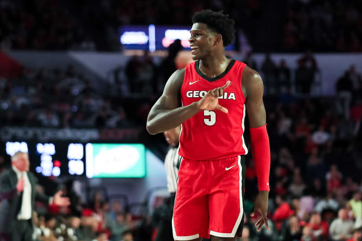Anthony Edwards of the Georgia Bulldogs gestures during a game against the Auburn Tigers at Stegeman Coliseum on February 19, 2020 in Athens, Georgia.