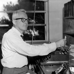 Hugh Nibley, professor of history and religion at BYU, sits at his typewriter in this 1961 photo.