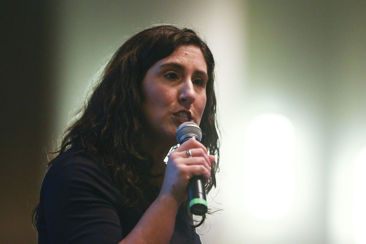 FILE - Shireen Ghorbani speaks at the Salt Lake County Democratic Party election on Saturday, Jan. 26, 2019. After a heated debate, both Democrats and Republicans on the Salt Lake County Council agreed to pass a resolution urging federal action and compas