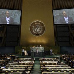 President Moncef Marzouki of Tunisia addresses the 67th session of the United Nations General Assembly at U.N. headquarters Thursday, Sept. 27, 2012.