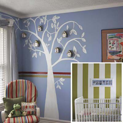 Children's room with decorative paint used to create tree on the wall.