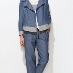 """<strong>Trend #2: Paperbag Pants.</strong> """"Cute cotton pants are a fun alternative to denim. You can wear them casual or dressed up, and show off the tie waist with a tucked in tee. I love the little swiss dots on this chambray pair and a bold print is a"""