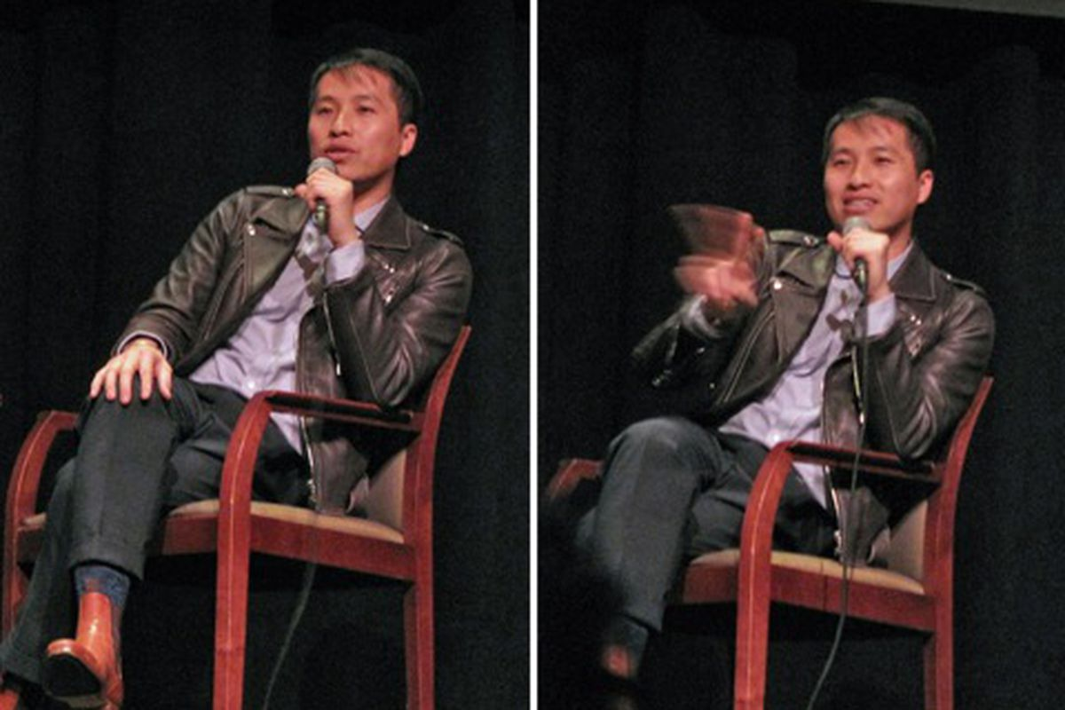 """Phillip Lim shakes his finger and says shame on you for having a job and missing his appearance! Image via <a href=""""http://blackburnandsweetzer.com/2009/12/03/designers-phillip-lim-talks-picasso-cheap-chic-spring-2010-suiting-and-more-at-lacma/"""">Bla"""