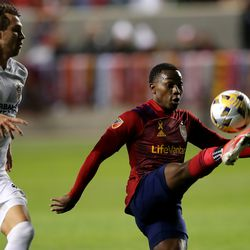 Real Salt Lake midfielder Anderson Julio (29) kicks the ball to himself before kicking the game-winning goal as Real Salt Lake and LA Galaxy play at Rio Tinto Stadium in Sandy on Wednesday, Sept. 29, 2021. RSL won 2-1.