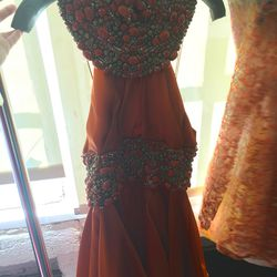 Orange beaded short dress, $900