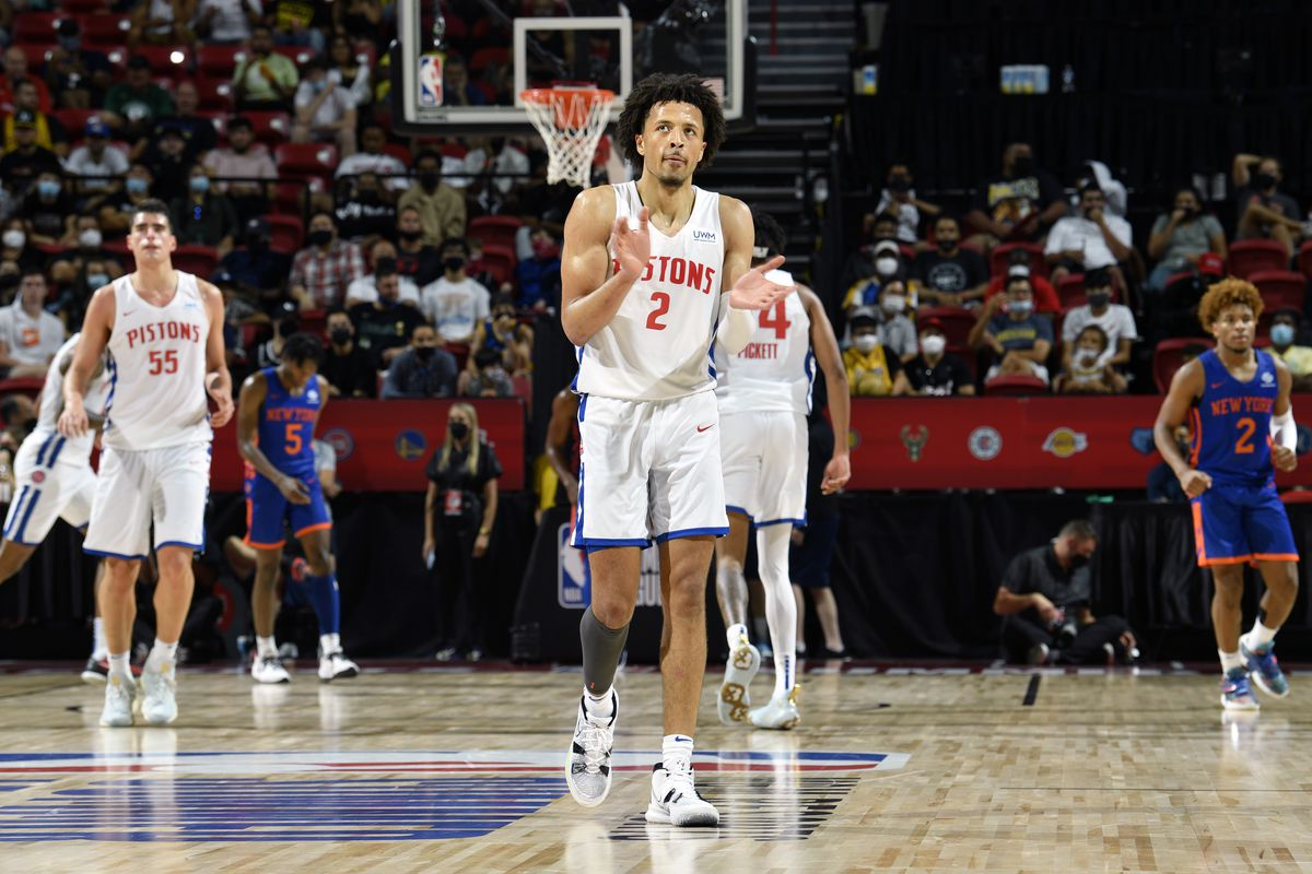 Cade Cunningham #2 of the Detroit Pistons celebrates during the game against the New York Knicks during the 2021 Las Vegas Summer League on August 13, 2021 at the Thomas & Mack Center in Las Vegas, Nevada.