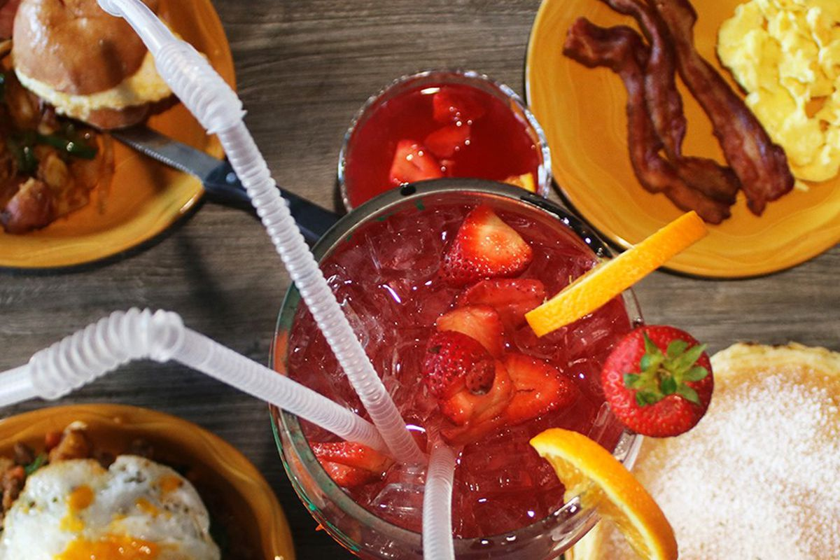 """A """"super mimosa"""" and collection breakfast favorites, on teh menu at Mimosas Gourmet Vegas."""