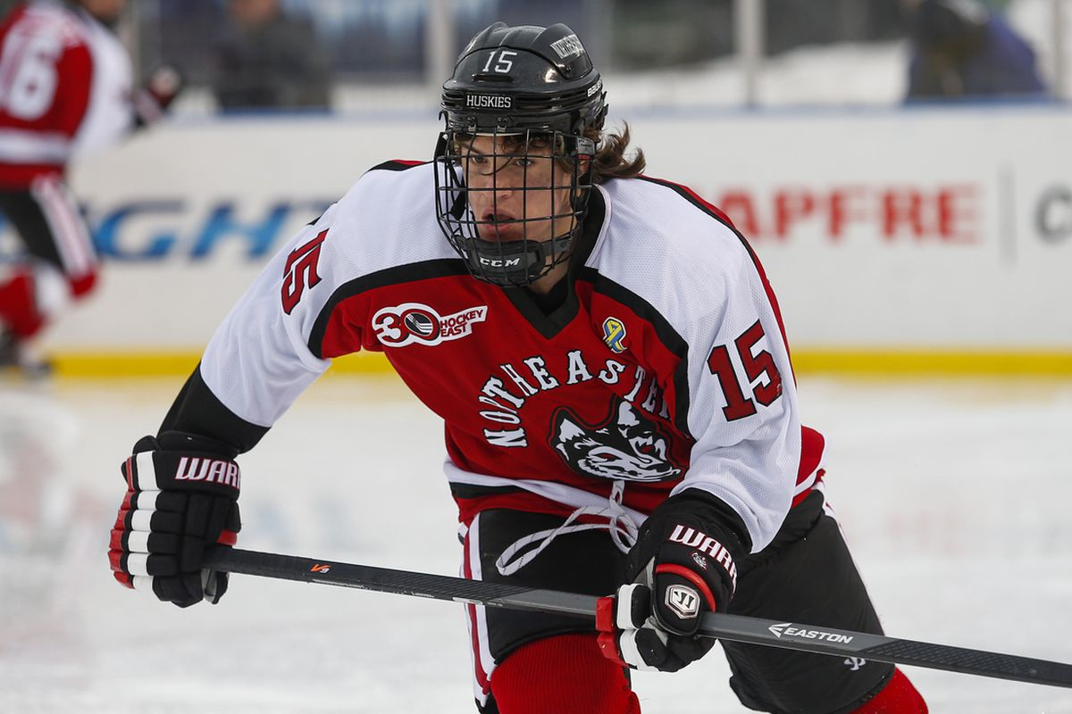 Northeastern junior forward Kevin Roy assisted on the game-winning goal.