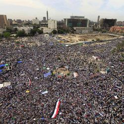 Thousands of Islamists rally in Tahrir Square to denounce the presidential candidacies of Hosni Mubarak-era officials, including that of his former spy chief in Cairo, Egypt, Friday, April 13, 2012. Supporters of the country's most influential political group, the Muslim Brotherhood, along with ultraconservative Salafis and other Islamists packed the capital's Tahrir Square, which was the epicenter of the uprising that ousted Mubarak a year ago.