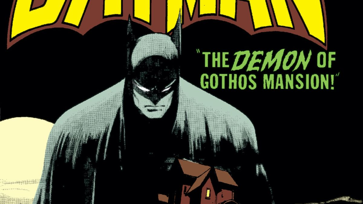 Batman looms soberly over the image of a lone mansion, on the cover of Batman #227, DC Comics (1970).