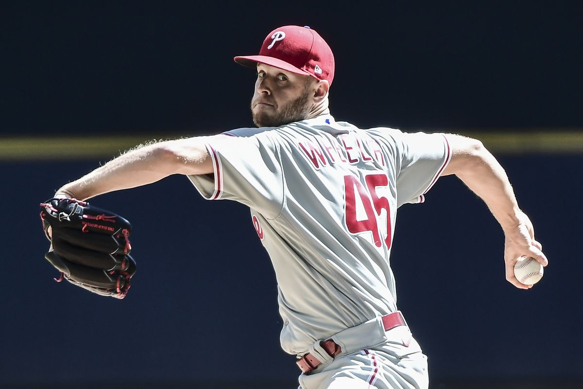 Philadelphia Phillies pitcher Zack Wheeler (45) throws a pitch in the first inning against the Milwaukee Brewers at American Family Field.