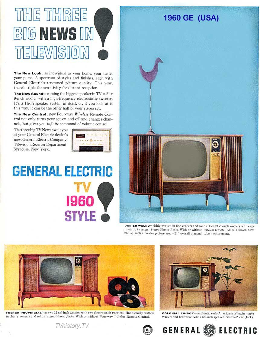 A print advertisement from 1960 featuring three photos of General Electric television sets.