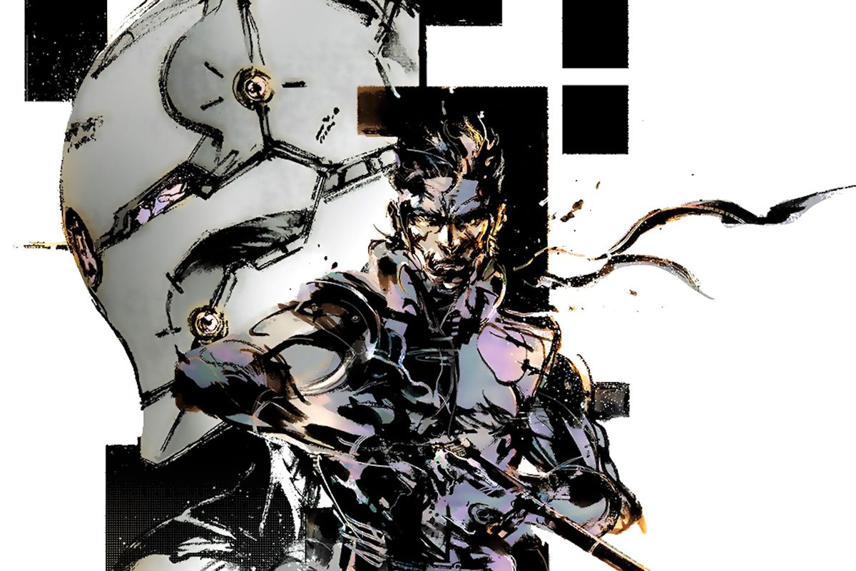Artwork of Solid Snake and Gray Fox from the original Metal Gear Solid from Yoji Shinkawa.