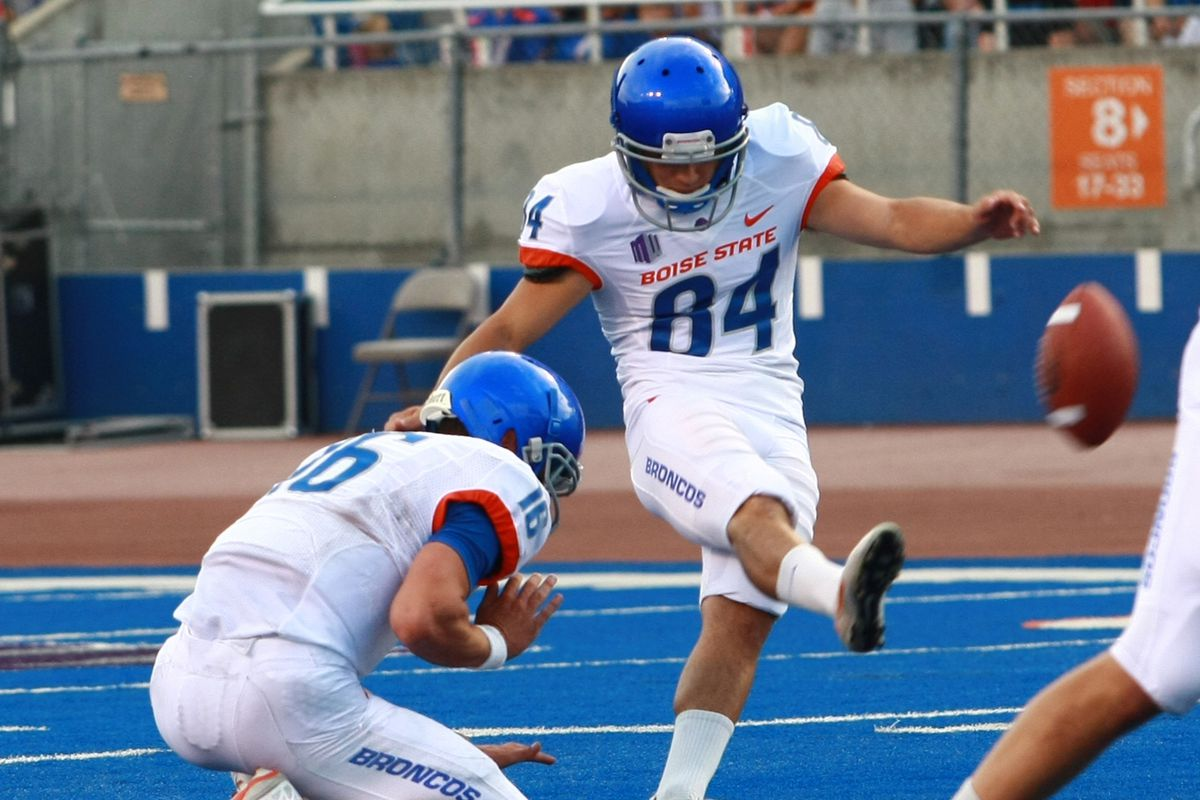 Aug 18, 2012; Boise, ID, USA; Boise State Broncos kicker Michael Frisina (84) makes a field goal during the fall scrimmage at Bronco Stadium. Mandatory Credit: Brian Losness-US PRESSWIRE