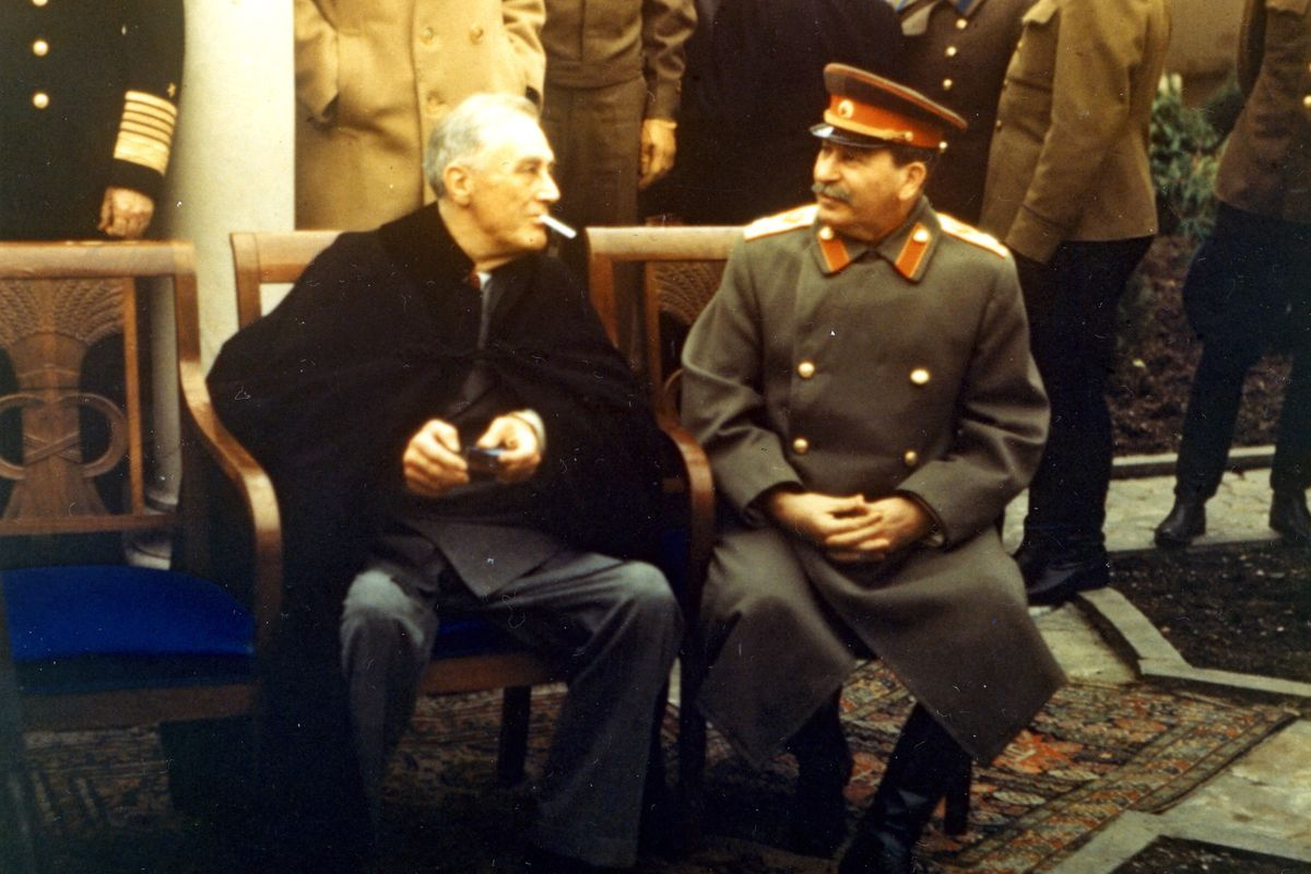 Roosevelt and Stalin at the Yalta conference in 1945.