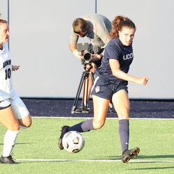 UConn's Cara Jordan #26 during the New Hampshire Wildcats vs the UConn Huskies exhibition women's college soccer game at Morrone Stadium at Rizza Performance Center in Storrs, CT, on Saturday August 14, 2021.