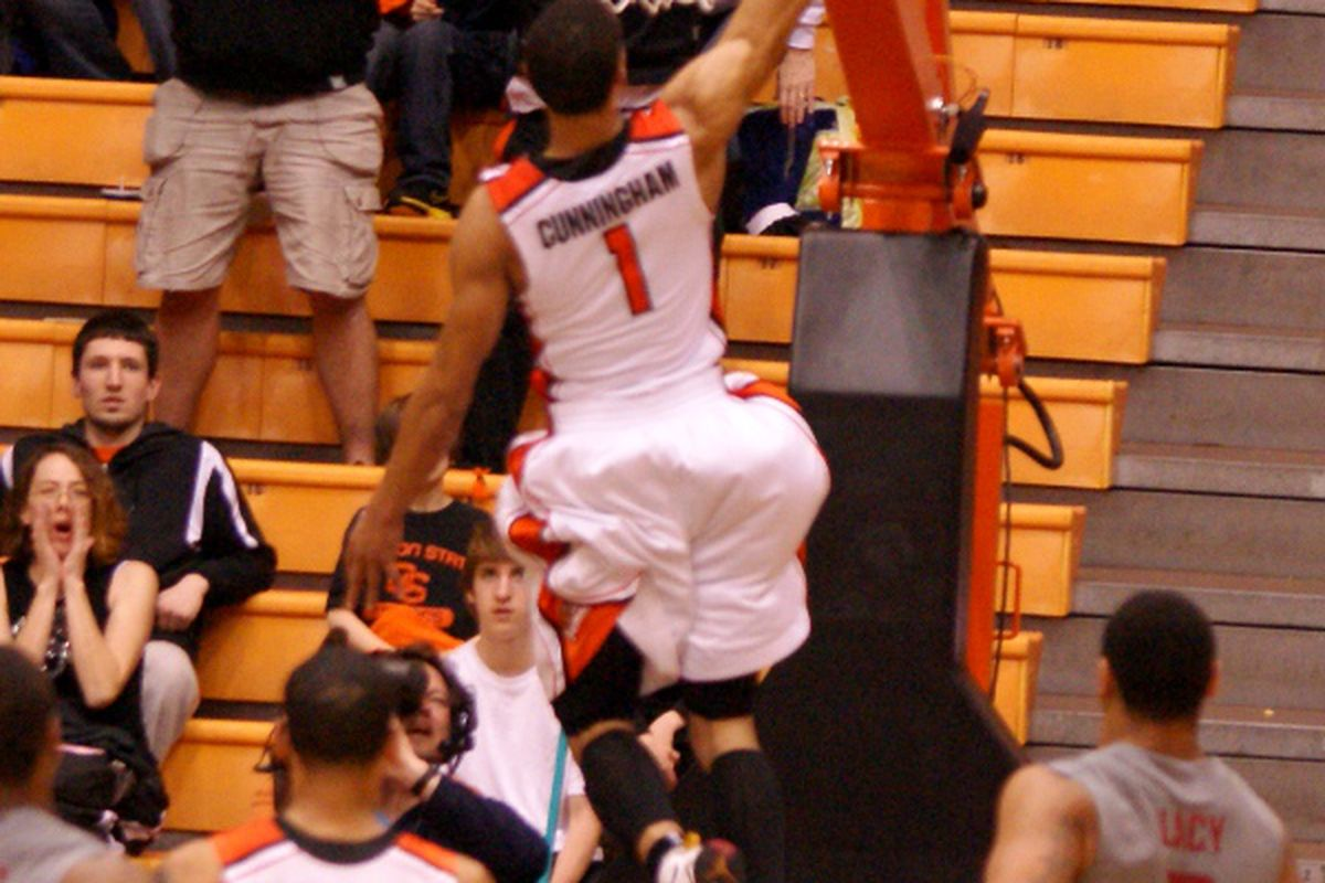 Could this be the last dunk by Jared Cunningham as a Beaver? Cunningham, who had only 13 points against Washington St., must now decide about whether he will enter the NBA draft a year early. <em>(Photo by Andy Wooldridge)</em>