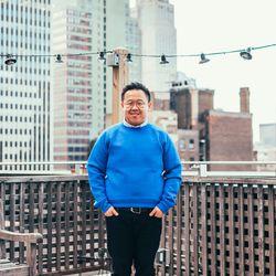 "<b>John Wong, Accessories Buyer</b> is wearing a <a href=""http://www.eastdane.com/sweatshirt-marc-jacobs/vp/v=1/1515709311.htm?colorId=13203"">Marc Jacobs sweatshirt</a>, <a href=""http://www.eastdane.com/short-sleeve-seersucker-button-down/vp/v=1/159733405"