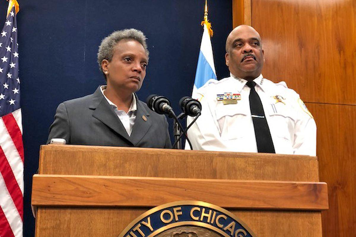 Mayor Lori Lightfoot and Police Supt. Eddie Johnson in summer 2019.