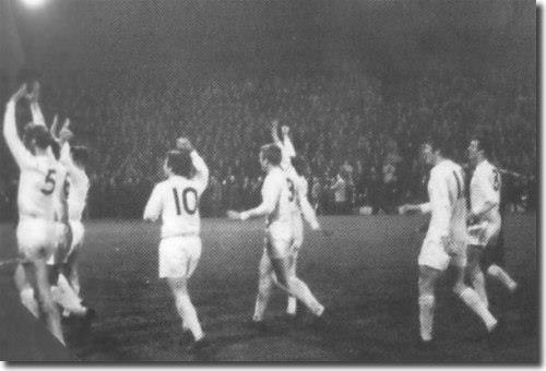 Leeds United wave to Anfield Kop